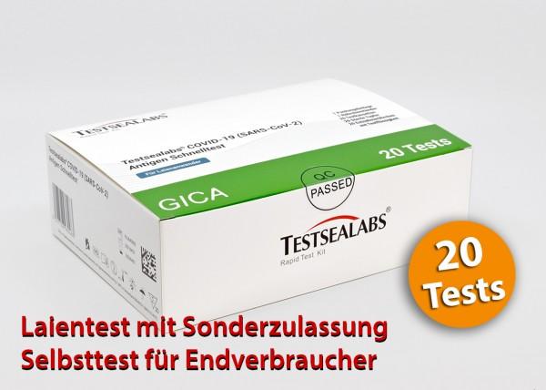Testselabs - Laientest (Nasenbohrertest) mit Sonderzulassung